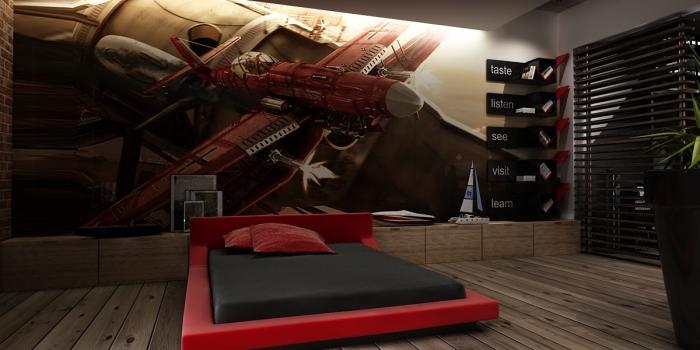 erstaunliche-Wand-Dekor-Design-mit-rotem-Schwebebett-und-Parkettboden-in-der-flippigen-Bachelor-Schlafzimmer-Ideen