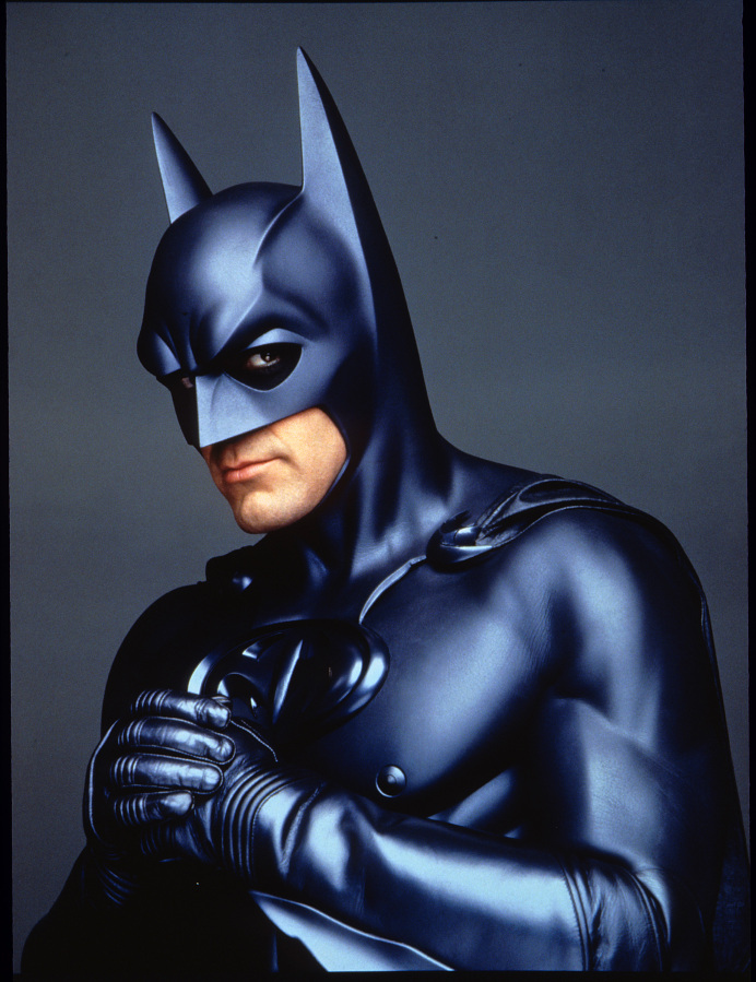 "George Clooney as Batman in Warner Bros. 1997 ""Batman and Robin."""